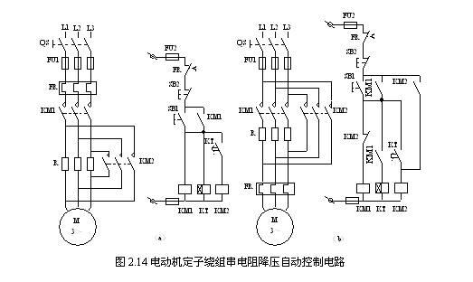 三相笼型异步电动机降压起动的方法有:定子绕组串电阻(电抗)起动; -Y 降压起动 ;延边三角形降压起动;自耦变压器降压起动。降压起动的实质是,起动时减小加在电动机定子绕组上的电压,以减小起动电流;而起动后再将电压恢复到额定值,电动机进入正常工作状态。 一、 定子绕组串电阻(电抗)起动控制线路 1.定子串电阻降压自动起动控制线路