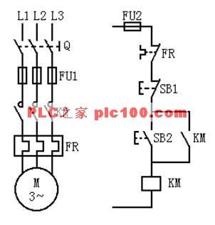 其中,由输入设备sb1图1 三相异步电动机单向运行电器控制系统 a)主