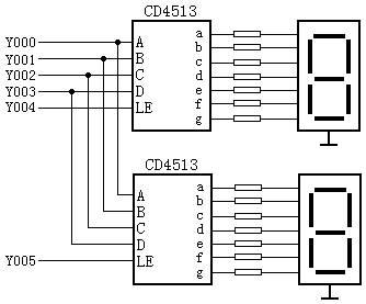 输出口扩展输出口 段码显示器驱动电路,两只cd4513的数据输入端a~d