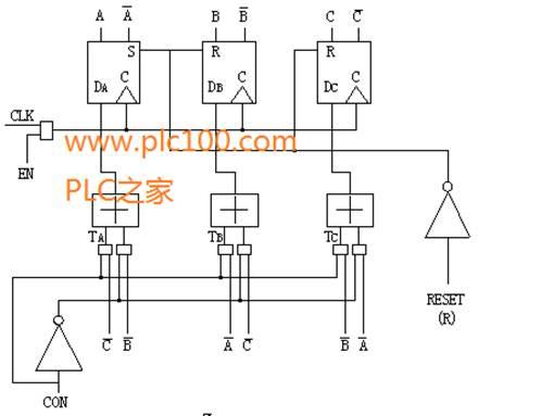 六拍环形分配器的逻辑电路